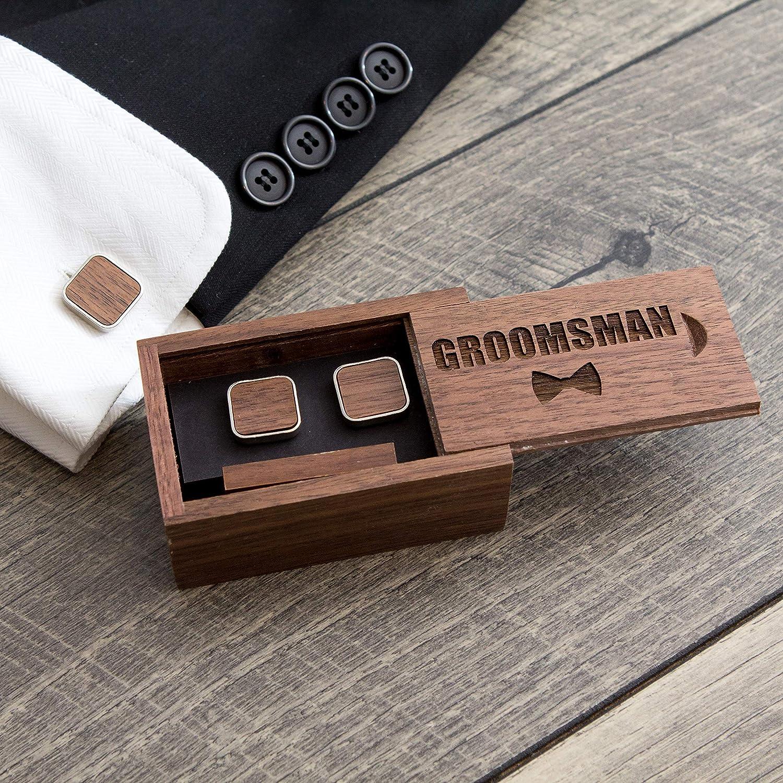 Amazon Com Groomsmen Gift Box With Square Cufflinks Tie Clip