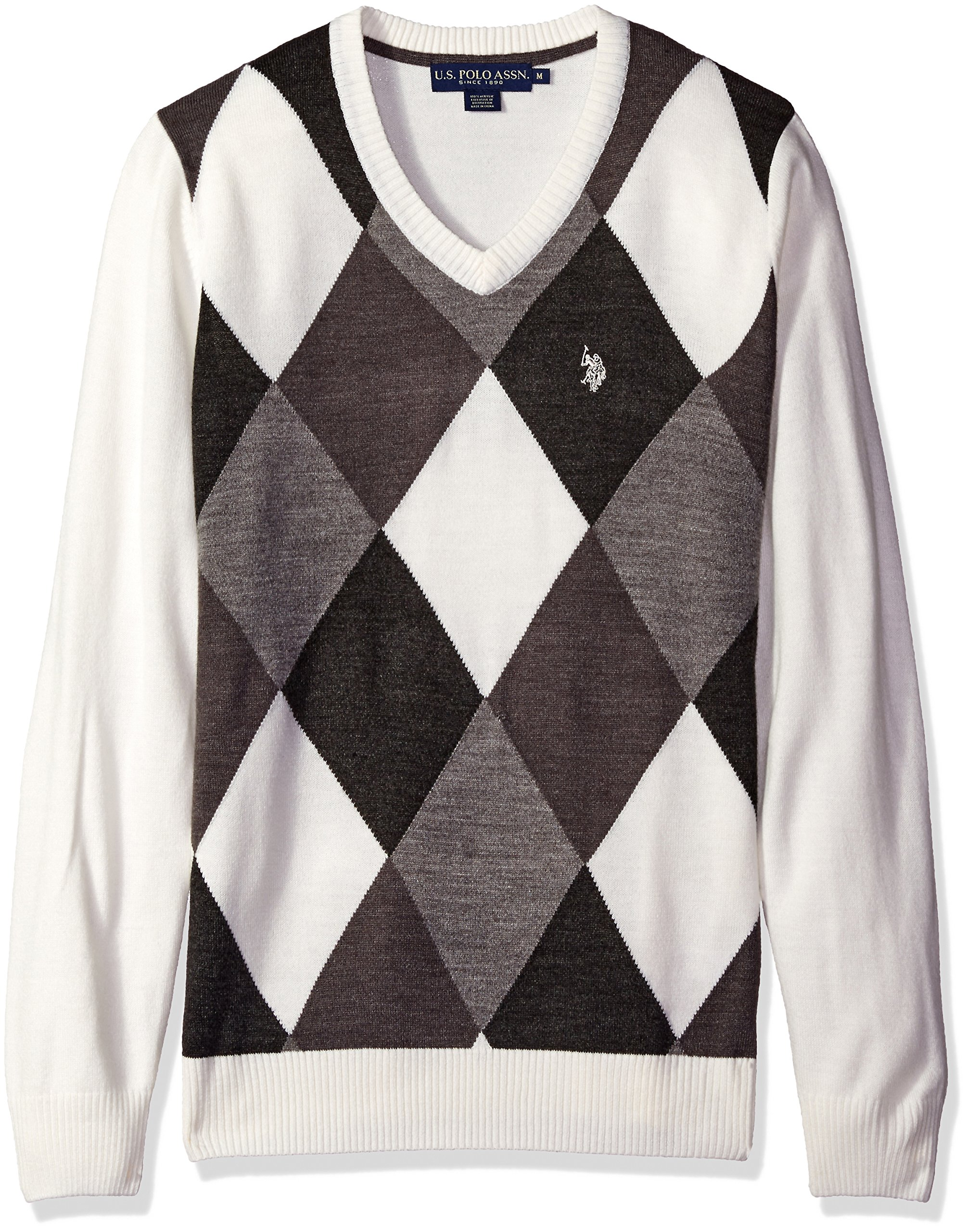 U.S. Polo Assn. Men's Argyle V-Neck Sweater, Winter White, Medium