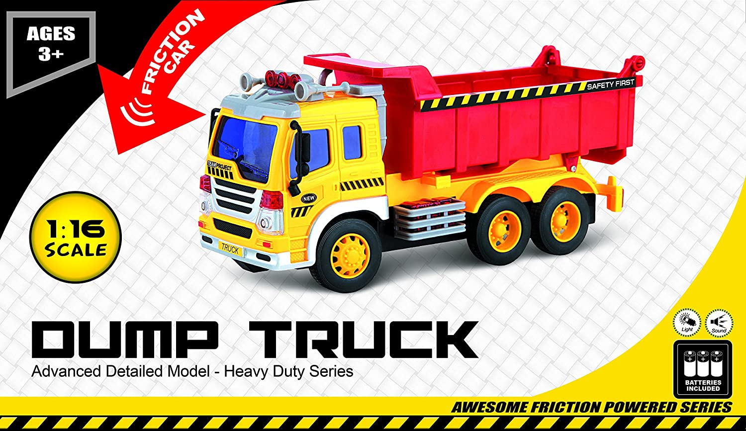 amazon com friction powered toy dump truck with lights u0026 sound