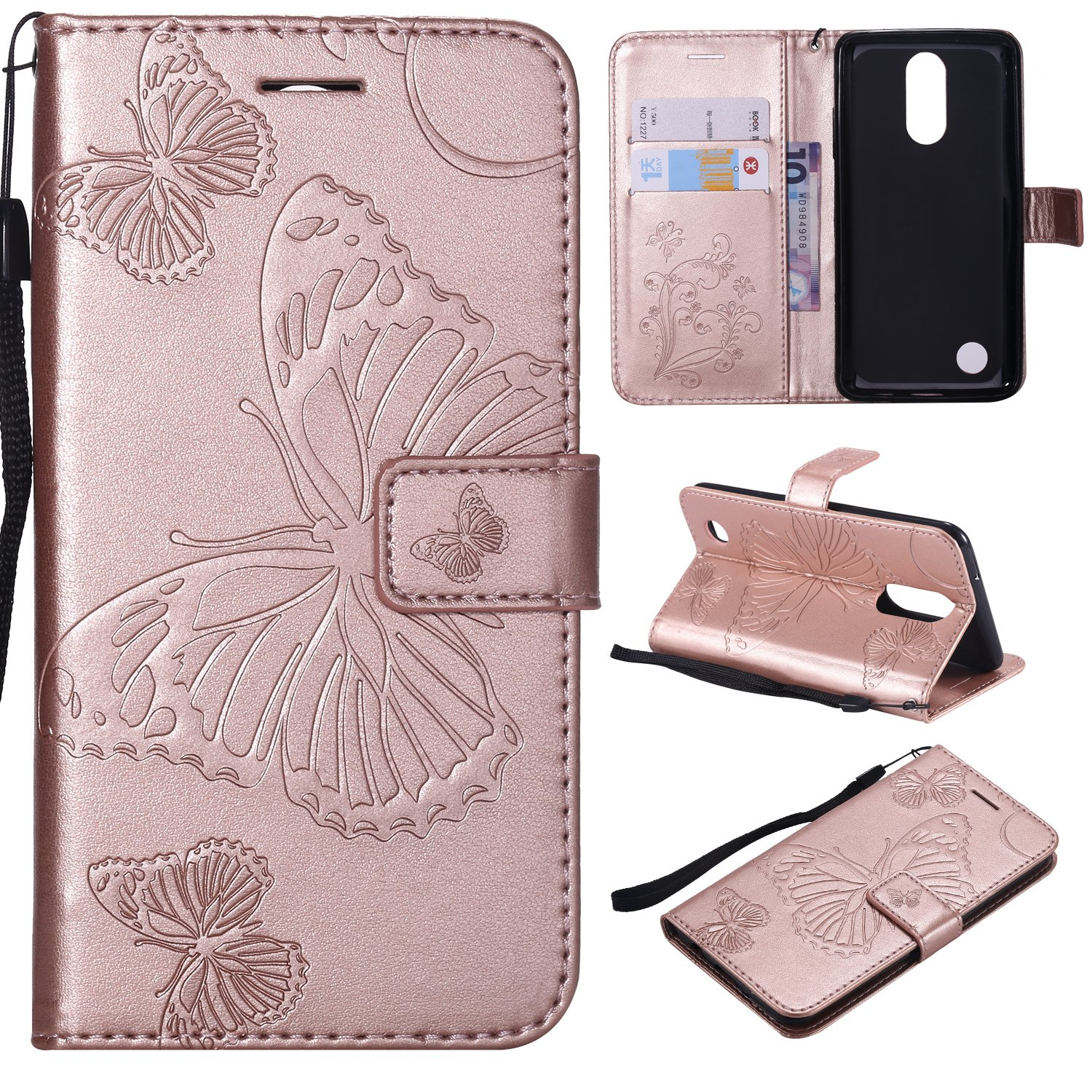 Tznzxm LG Aristo/LG Phoenix 3 /LG Fortune/LG Risio 2 / LG Rebel 2 LTE Case Embossed Butterfly Magnetic Closure Wallet Protective Flip Kickstand Credit Card Slots Wrist for LG K8 2017 Rose Gold