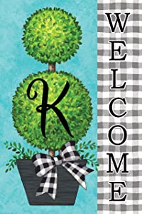 Custom Decor Gingham Topiary - Letter K - Embroidered Monogram - Decorative Double Sided Flag - Garden Size, 12 Inch X 18 Inch, Licensed, Copyright & Trademark CDI. USA
