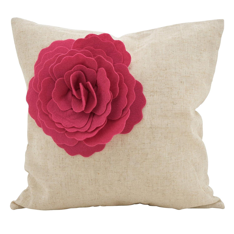Amazon.com: Fuchsia - Cojín para sofá con diseño de rosa ...