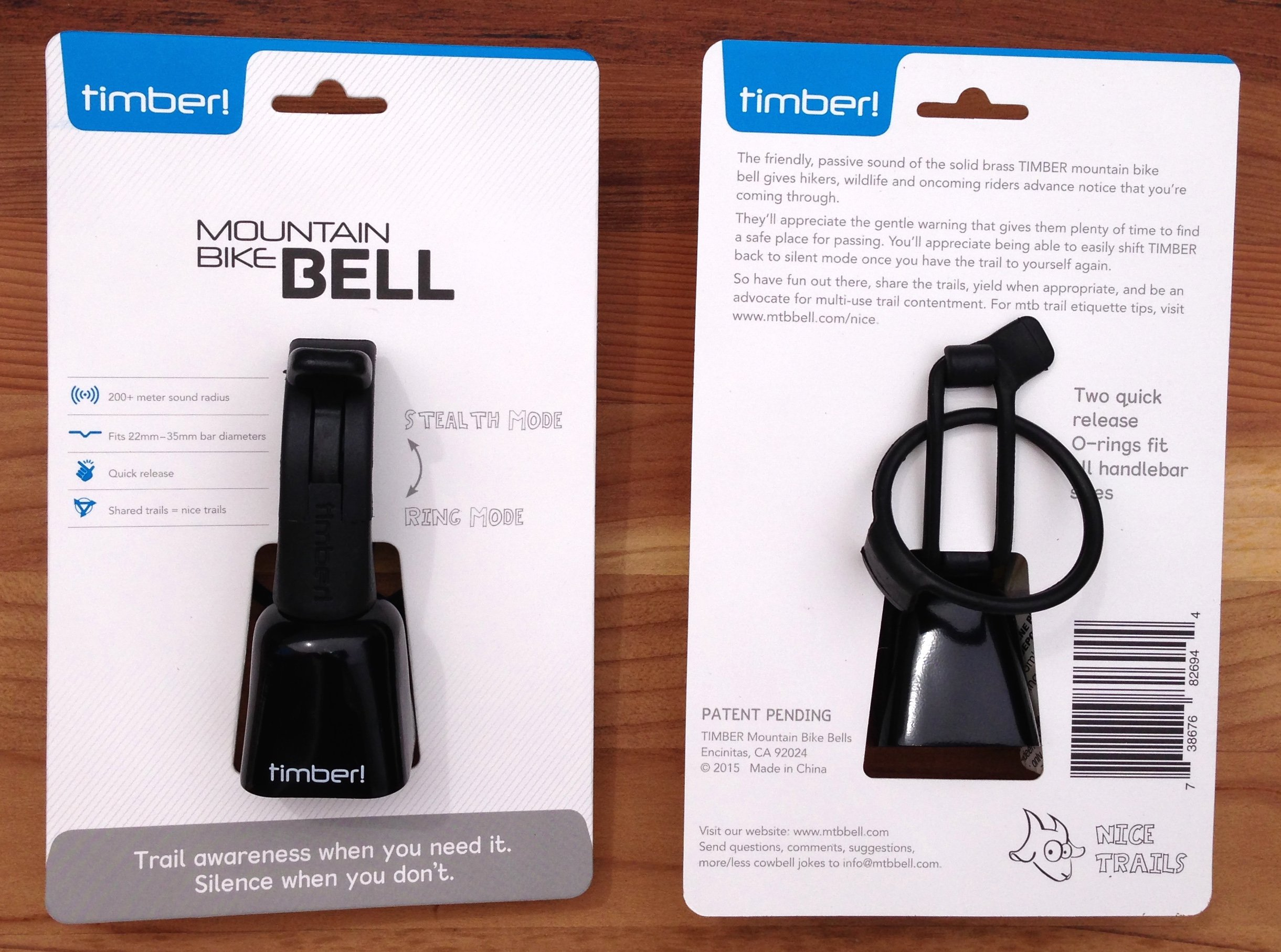 TIMBER! Mountain Bike Bell - Quick Release Model