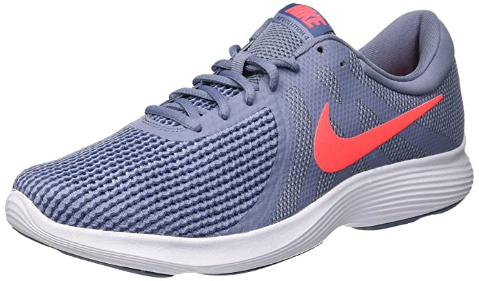 Nike Revolution 4 Herren blau mit rotem Streifen (Ashen Slate/Flash Crimson/Diffused Blue)