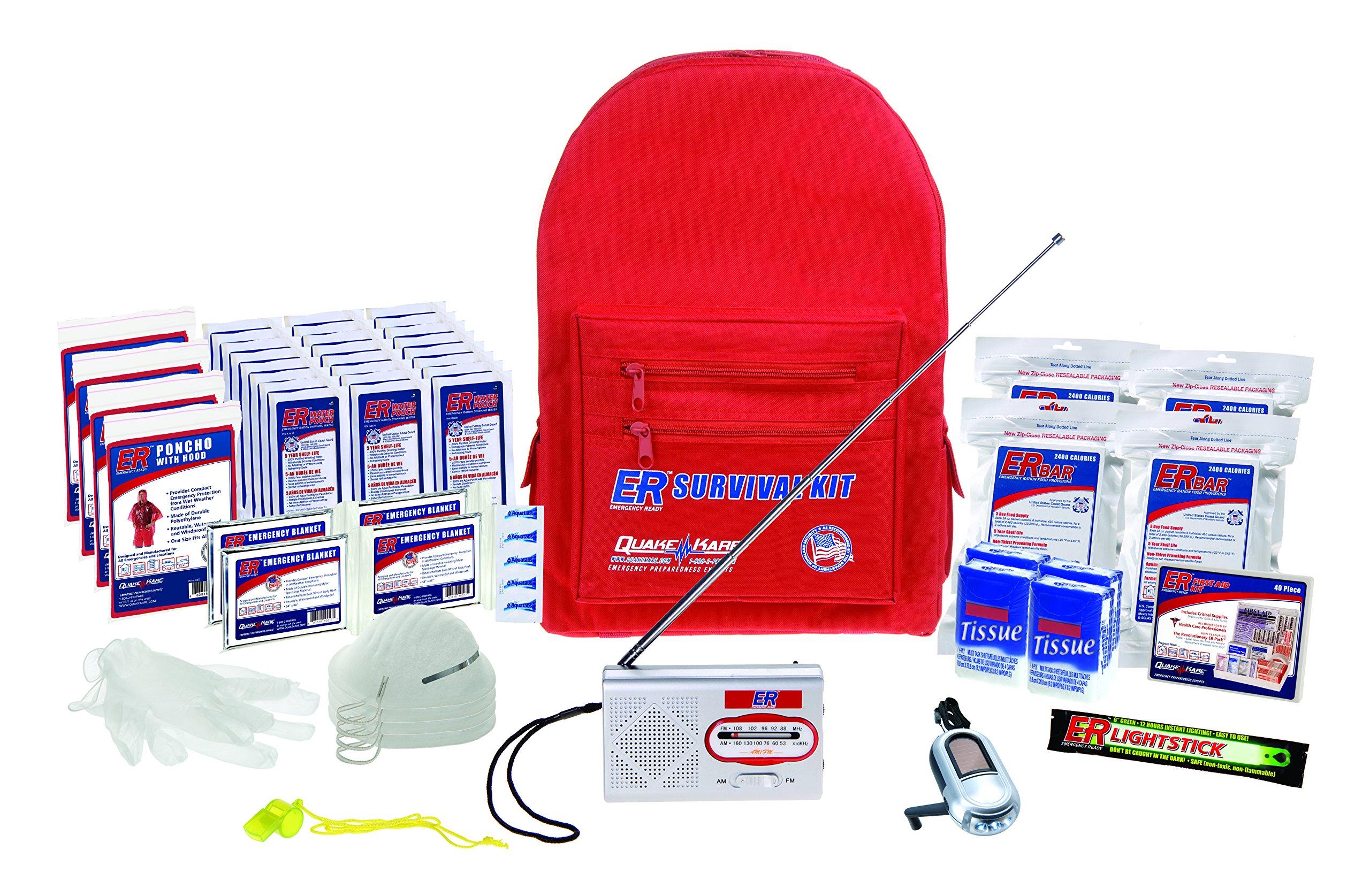 ER Emergency Ready SKBP4SS 4 Person Deluxe Backpack Survival Kit by ER Emergency Ready