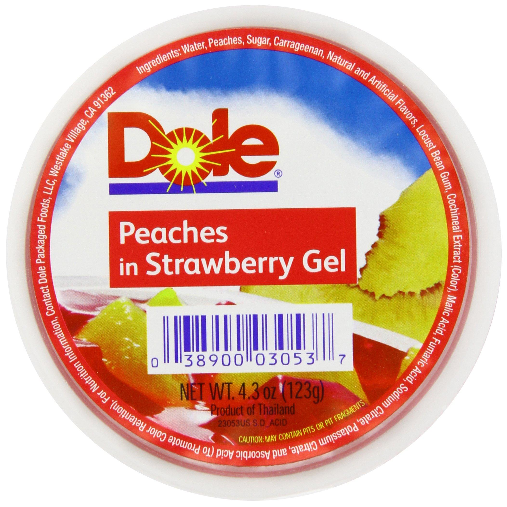 Dole Fruit Bowls, Peaches in Strawberry Gel, 4.3 Ounce (36 Cups), All Natural Diced Peaches in Strawberry-Flavored Gel, Non-GMO Gluten-Free Fat-Free