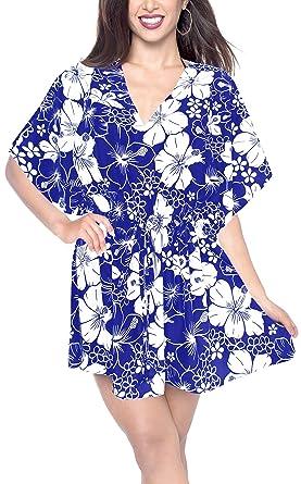 6d045d59f5 LA LEELA Plain Embroidered Beach Dress Cover up Blue_B634 OSFM 16-28W [XL-