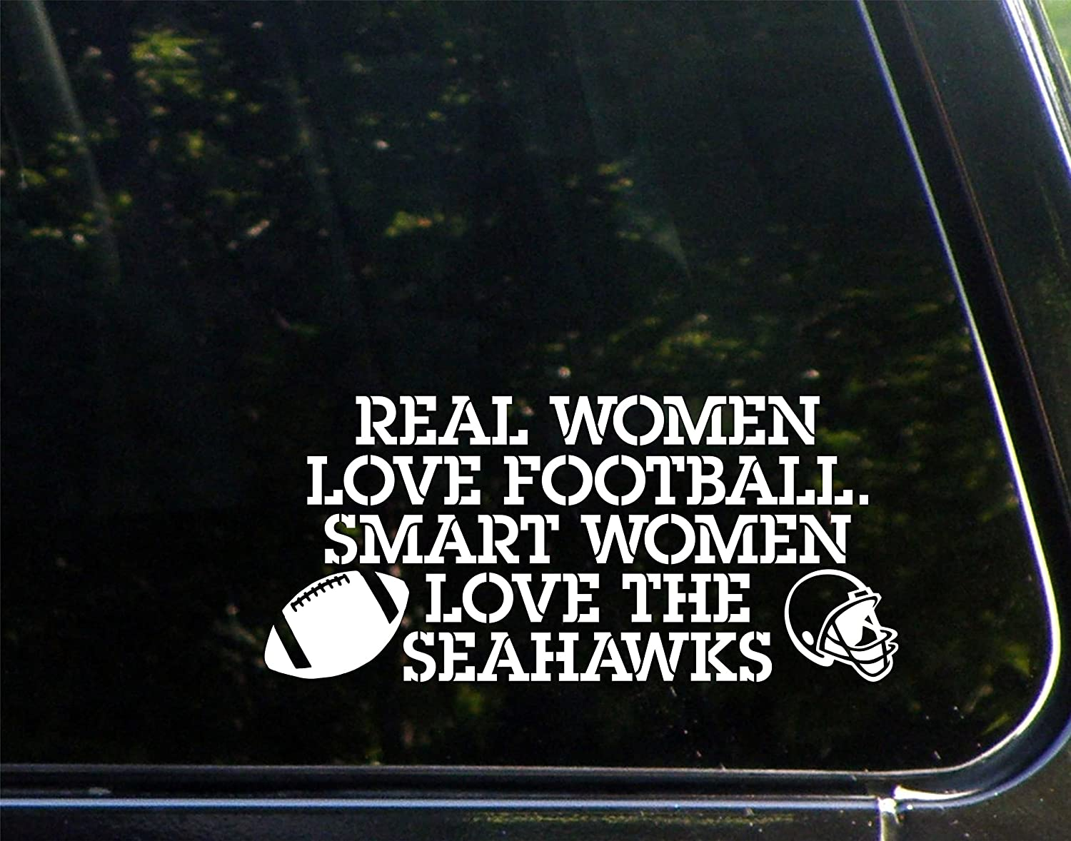 Amazon real women love football smart women love the amazon real women love football smart women love the seahawks 8 x 3 12 vinyl die cut decal bumper sticker for windows cars trucks laptops sciox Image collections