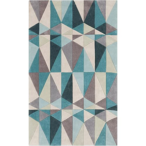 Surya Cosmopolitan COS-9169 Transitional Hand Tufted 100 Polyester Teal Blue 5 x 8 Geometric Area Rug