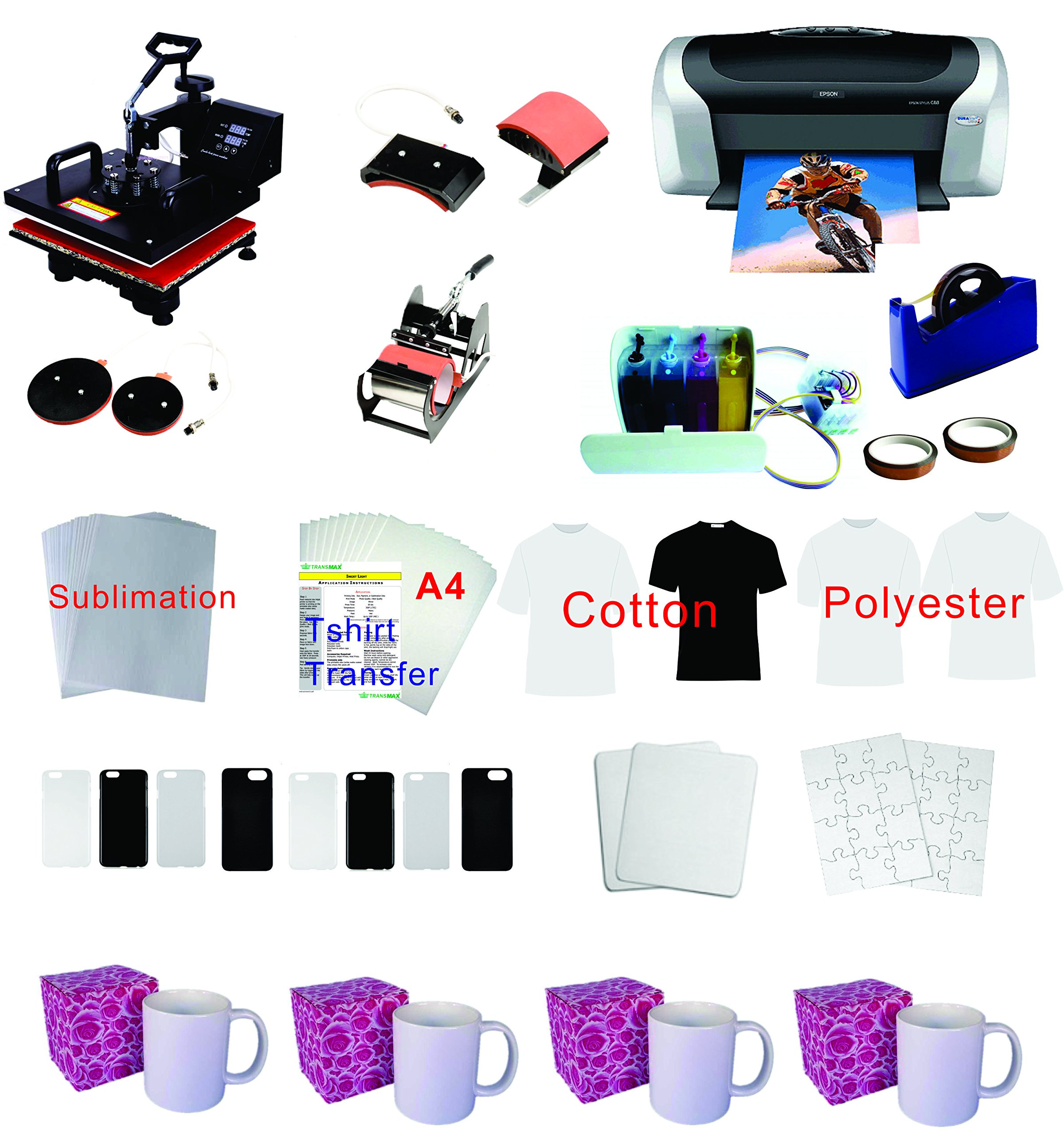 5in1 Professional Sublimation Heat Transfer Machine Epson Printer C88 CISS KIT