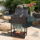 Brooks Outdoor Patio Furniture Multibrown Wicker Bar Cart