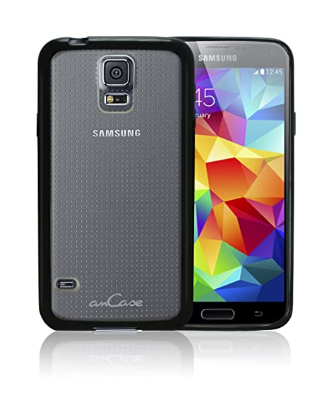 premium selection b0d77 596d8 amCase Hybrid Bumper Case (Black) for Samsung Galaxy S5 with Anti-Scratch  Transparent/Frosted Back Panel [in Retail Packaging]