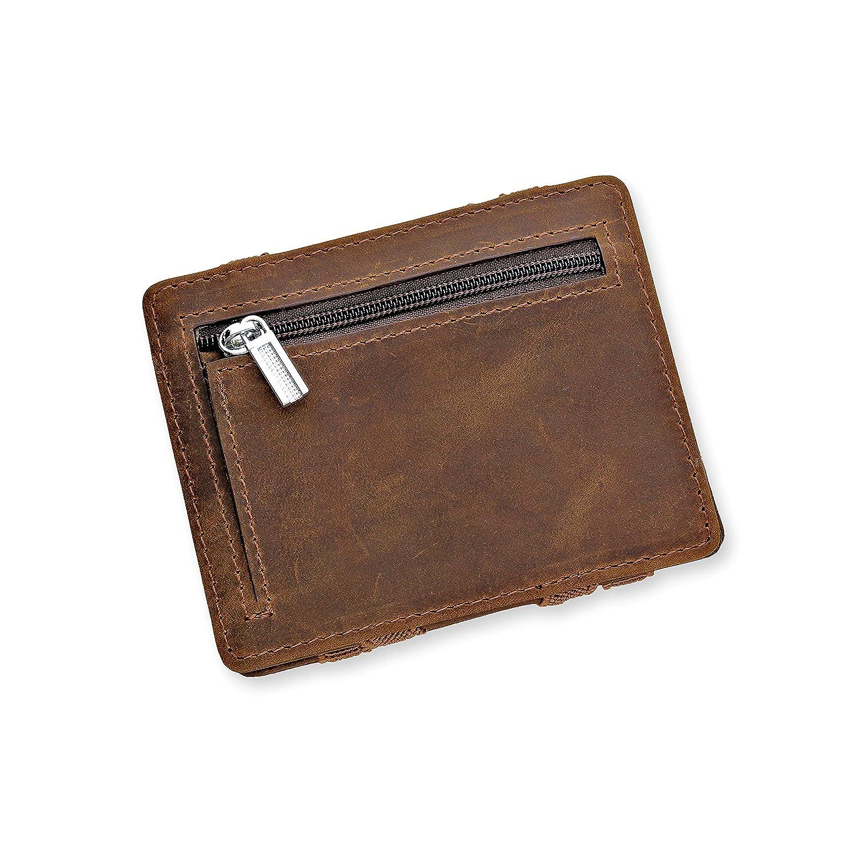 URBANHELDEN - Magic Wallet - Magischer Geldbeutel mit RFID Schutz - Portemonnaie aus echtem Büffelleder - Kreditkartenhalter Ausweisetui - Portmonee Herren - Braun 6100004-2017