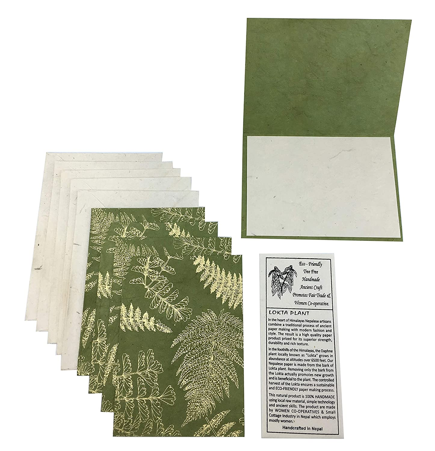 Goldtone Fern Print Handmade Blank Card and Envelope Set