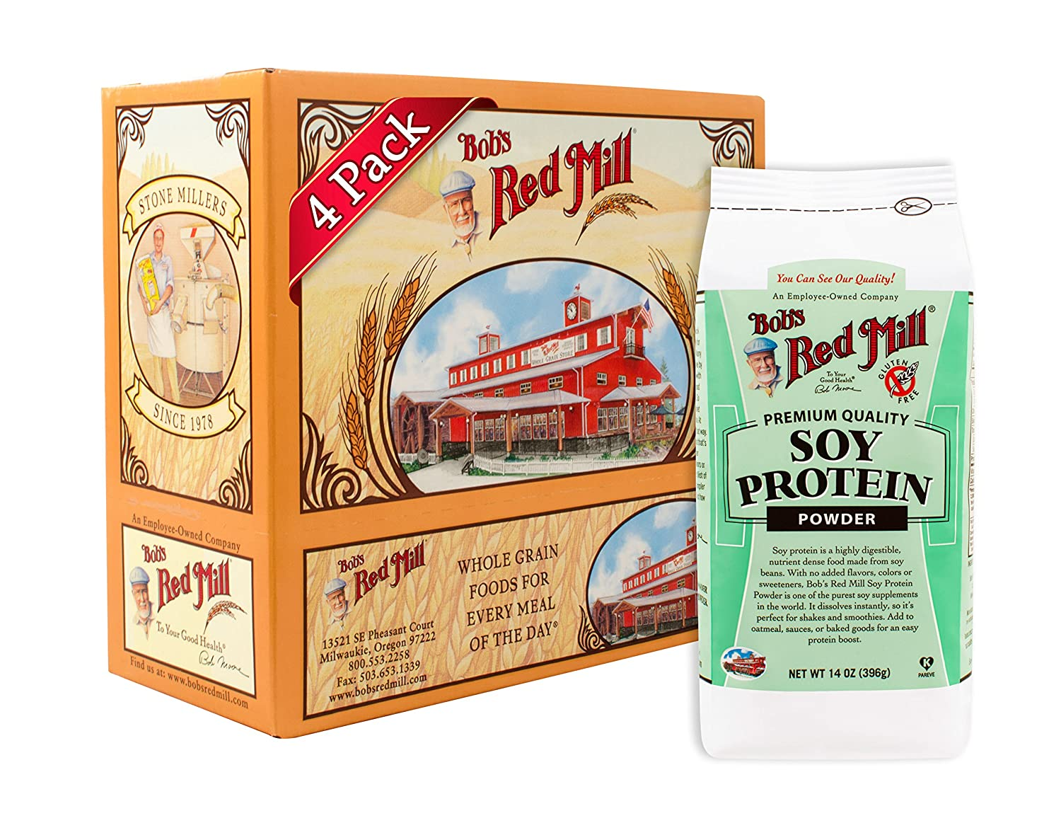 Bob s Red Mill Gluten Free Soy Protein Powder, 14 Ounce Pack of 4