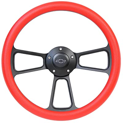 5-bolt Black Steering Wheel 14 Inch Aluminum with Red Vinyl Wrap and Chevy Horn Button: Automotive