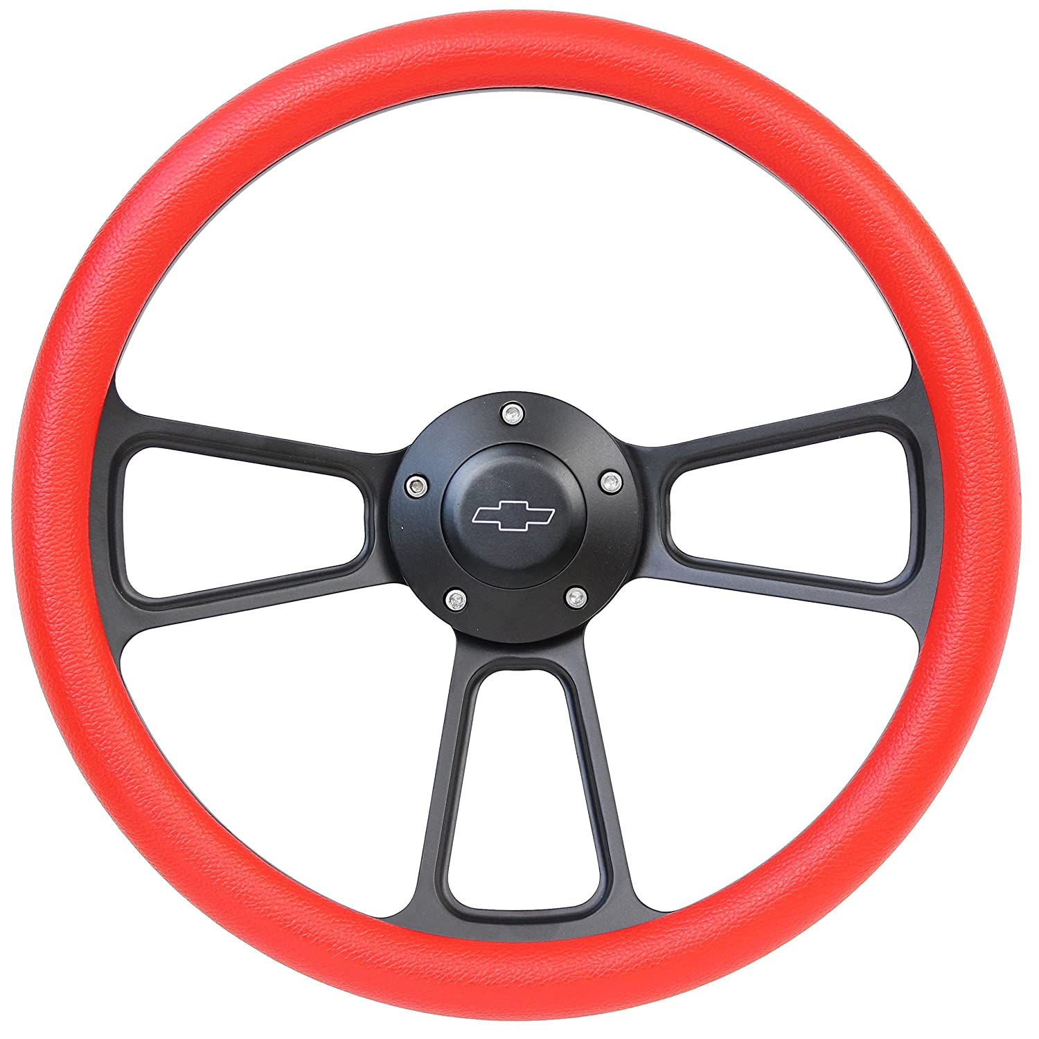 5-bolt Black Steering Wheel 14 Inch Aluminum with Red Vinyl Wrap and Chevy Horn Button Forever Sharp
