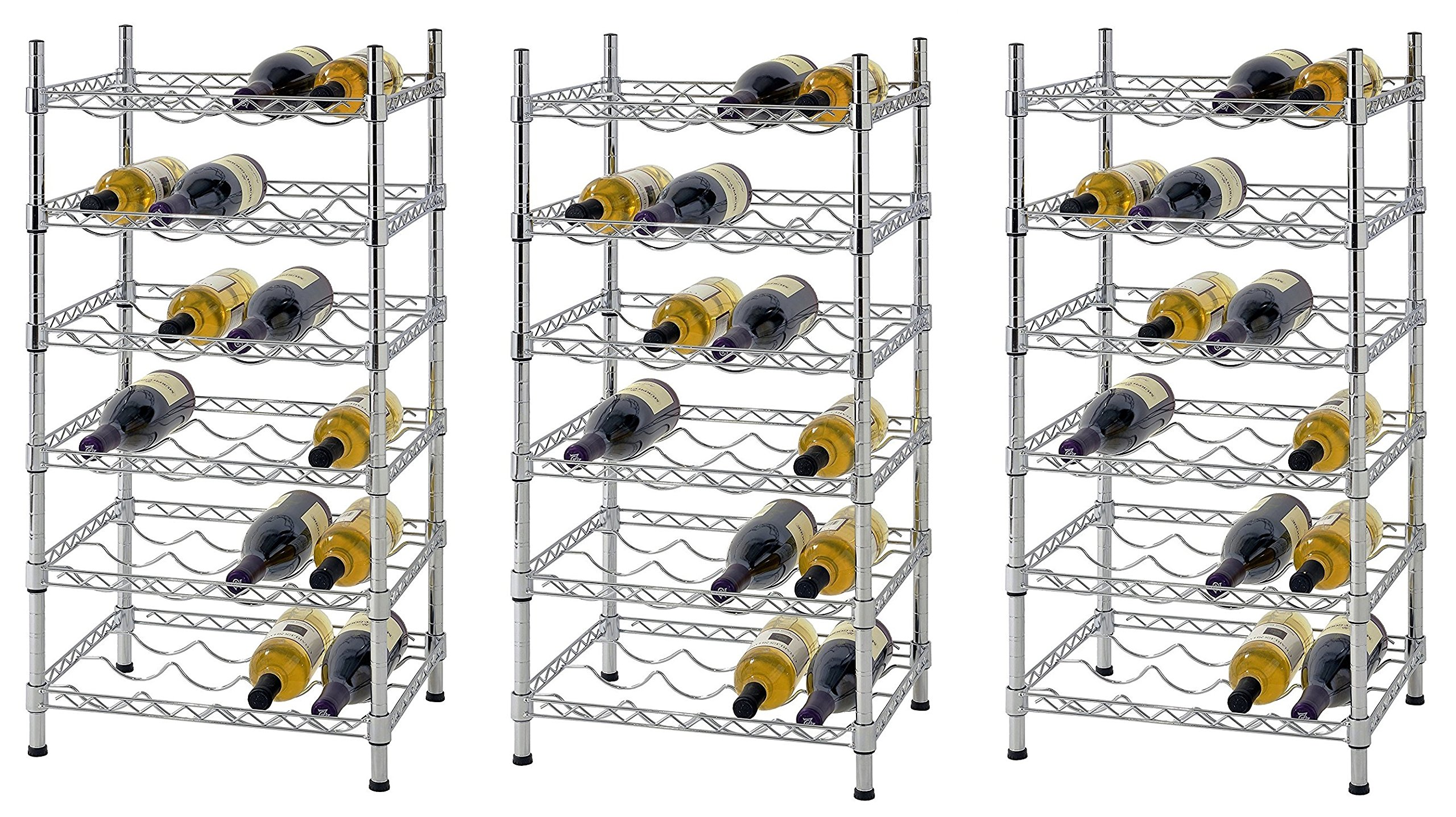 Muscle Rack WBS181435 24-Bottle Chrome Wine Rack, 18'' by 14'' by 35'', 35'' Height, 18'' width, 660 lb. Load Capacity (Pack of 3)