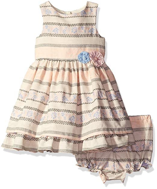 Amazon Com Laura Ashley London Baby Girls Striped Dress Multi 24