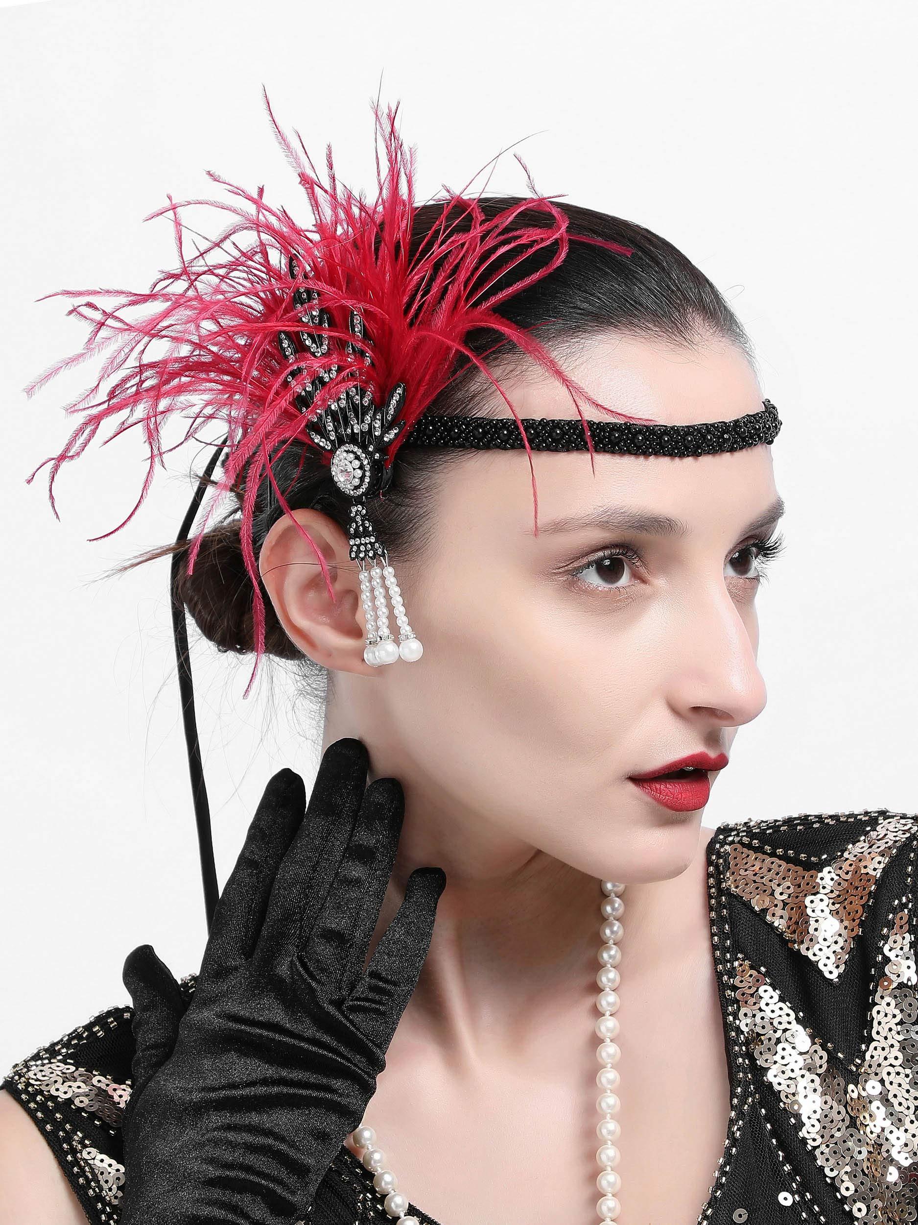 Gatsby Feather Headpiece Flapper Leaf Pearl Headband Roaring 20s Wedding Headpiece (Burgundy) by Zivyes (Image #2)