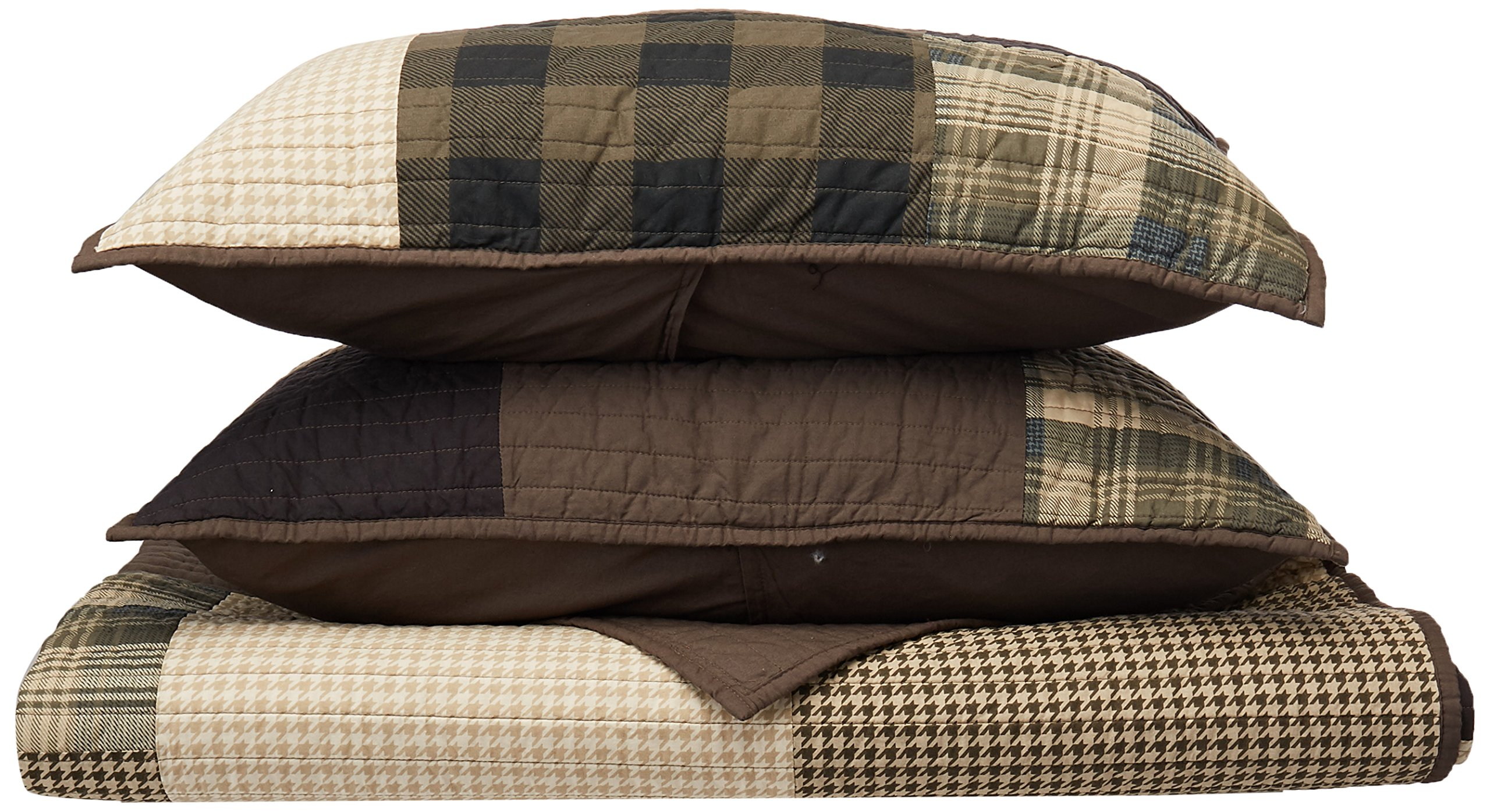 Woolrich Winter Hills Full/Queen Size Quilt Bedding Set - Grey Tan, Plaid – 3 Piece Bedding Quilt Coverlets – Cotton Bed Quilts Quilted Coverlet