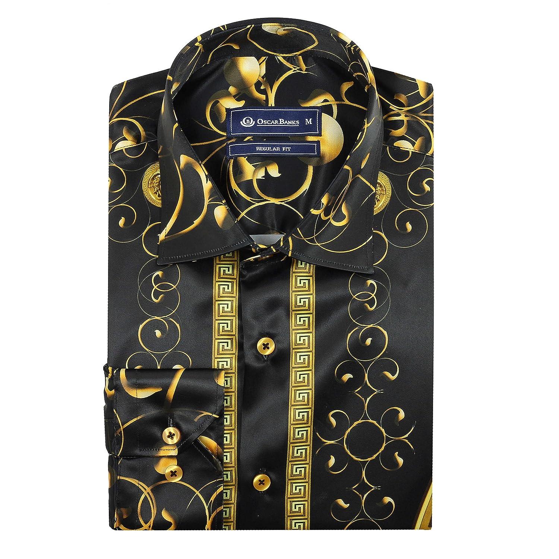 Oscar Banks Dress Party Mens Satin Silk Feel Shirt Gold Mosaic Tile Print on Black