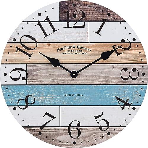 FirsTime Co. Newton Woodgrain Farmhouse Clock, American Crafted, Multi-Color, 24 x 1.75 x 24 ,