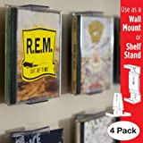 CollectorMount CD Mount Wall Frame Display and Shelf Stand, Invisible and Adjustable, 4 Pack