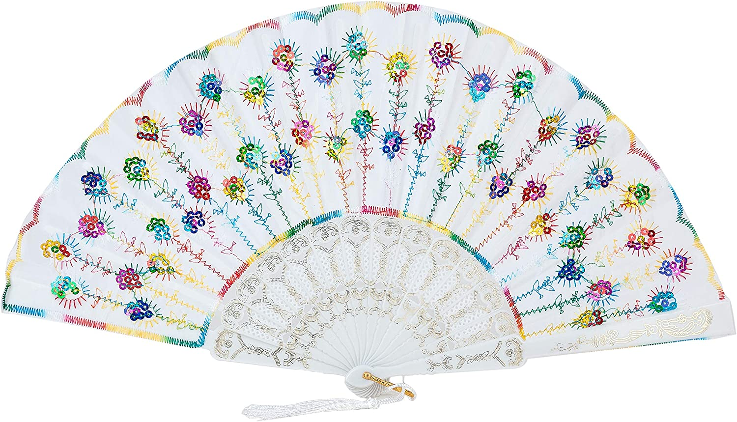 Sepwedd 30Pcs White Folding Fans for Women,Handmade Elegant Colorful Embroidered Flower Peacock Pattern Sequin Fabric Folding Fans Bridal Dancing Props Church Wedding Gift Party Favors White Gift Bags
