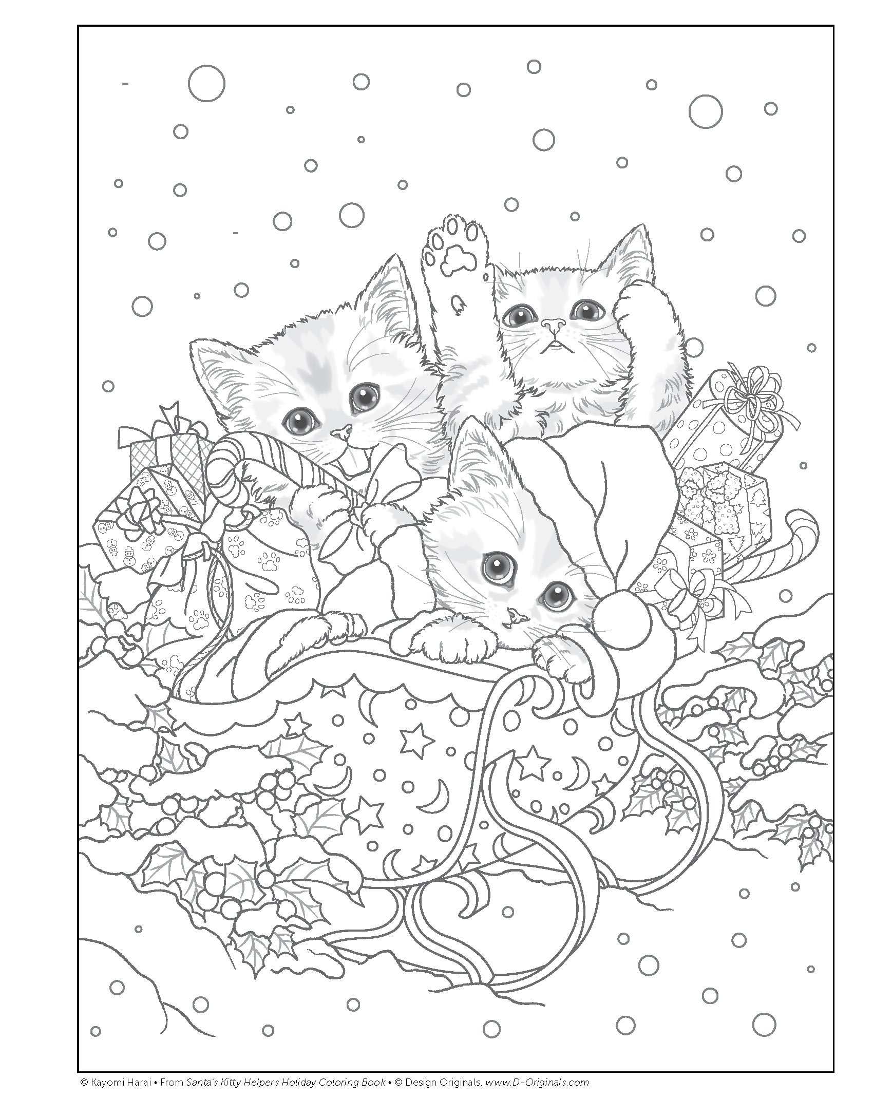Santas Kitty Helpers Holiday Coloring Book Design Originals