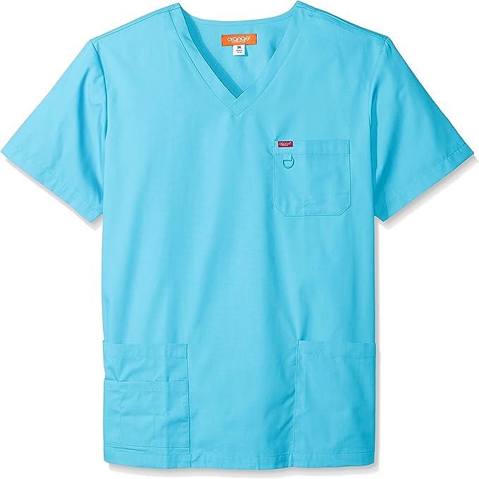 Vari colori:blu//grigio//bianco Realizzate con maniche corte di cotone e poliestere con scollo a V Camice//casacche unisex per professioni sanitarie come medici//infermieri//veterinari//dentisti e altro