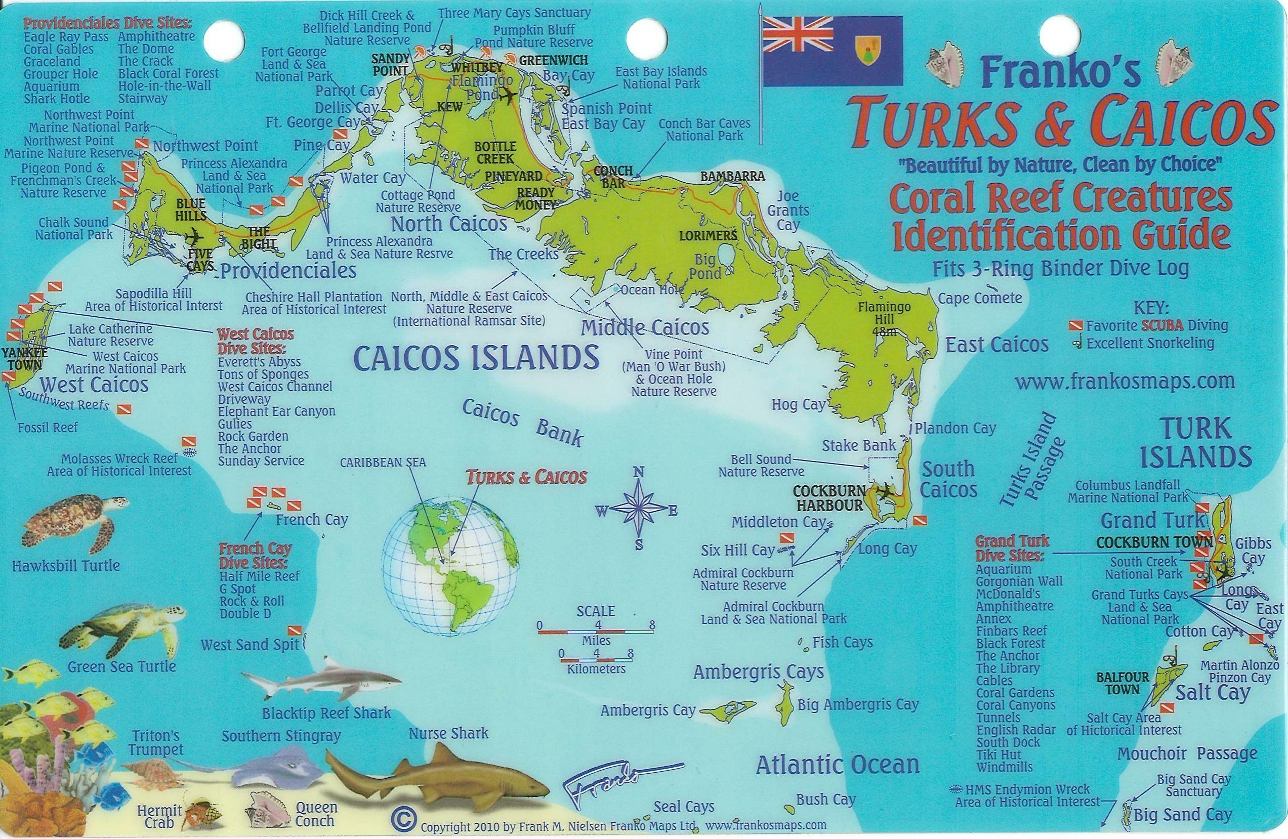 Turks And Caicos Map Turks & Caicos Dive Map & Reef Creatures Guide Franko Maps  Turks And Caicos Map