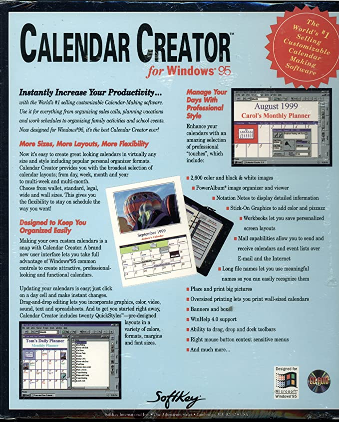 Softkey Calendar Creator For Windows 95