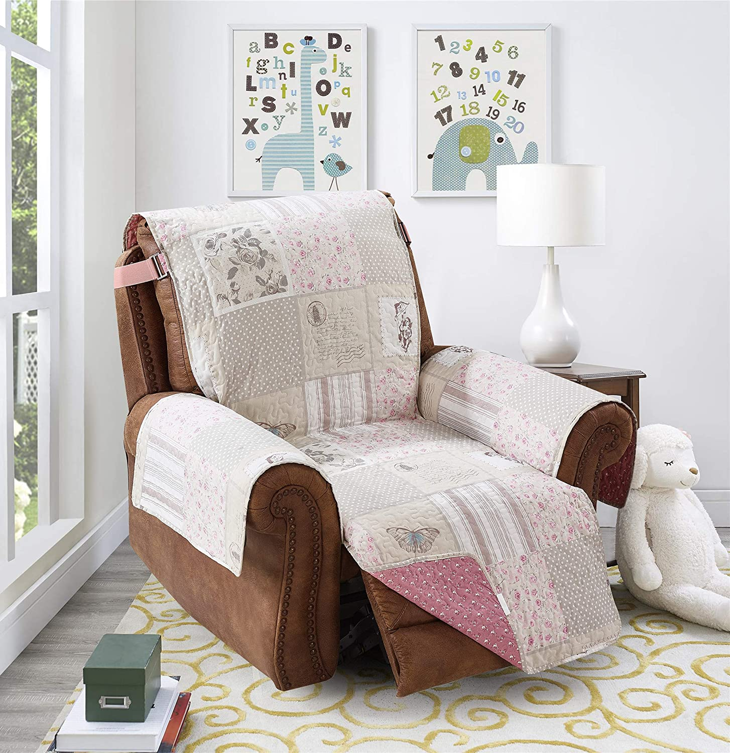 """Brilliant Sunshine Gray Angel and Pink Floral Patchwork, Reversible Large Recliner Protector for Seat Width up to 28"""", Furniture Slipcover, 2"""" Strap, Reclining Chair Cover, Recliner, Gray Pink"""