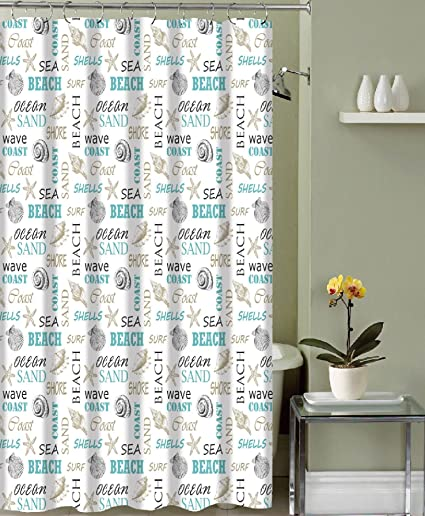 Ordinaire Ocean Shells Theme Fabric Shower Curtain: Modern Decorative Typography And  Pictorial Design