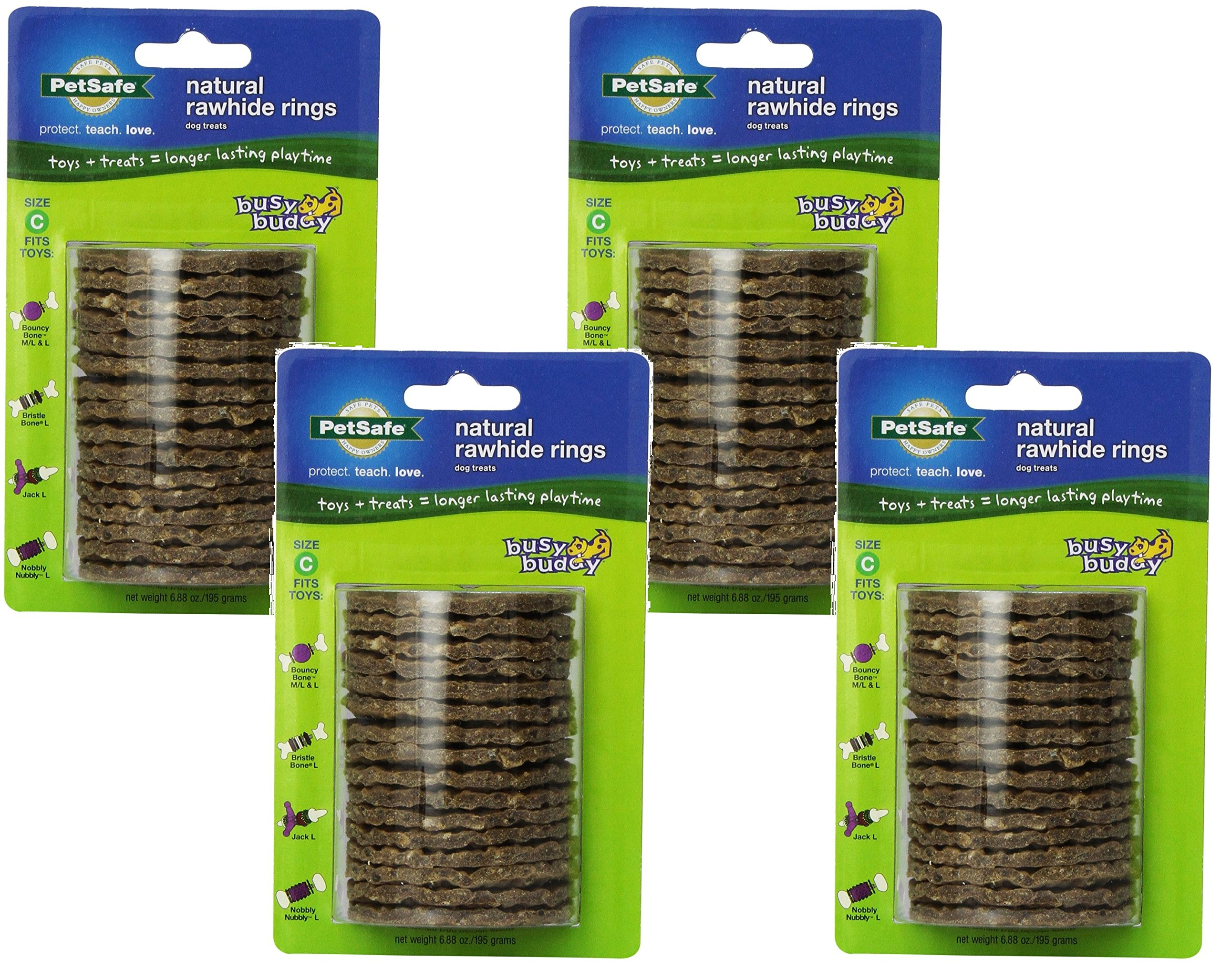 dog supplies online (4 pack) petsafe busy buddy refill ring dog treats for select busy buddy dog toys, natural rawhide, size c