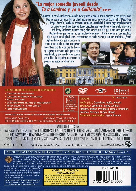 Un Sueño Para Ella [DVD]: Amazon.es: Amanda Bynes, Christina Cole, Kelly Preston, Anna Chancellor, Jonathan Pryce, Oliver James, Eileen Atkins, Colin Firth, ...