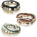 Besteel 7 PCS Boho Jewelry Beaded Bracelets for Women Men Link Wrist Stretch Chain Bracelet Set