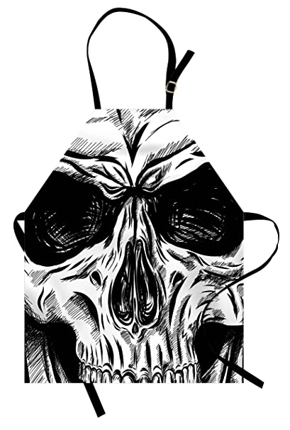 Amazon Com Ambesonne Halloween Apron Gothic Dead Skull Face Close