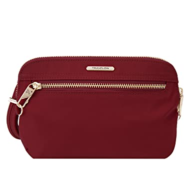 283c5c84bc Amazon.com  Travelon Women s Anti-Theft Tailored Convertible Crossbody  Clutch Cross Body Bag Garnet One Size