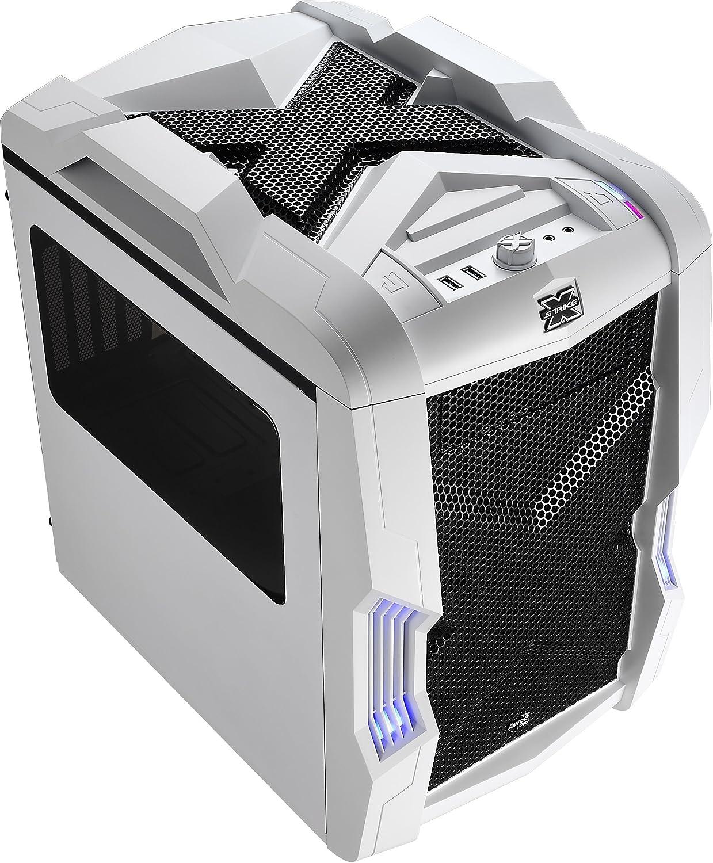 Aerocool STRIKEXCUBEWH - Caja gaming para PC (ATX, ventilador con iluminación LED frontal 20 cm y trasero 14 cm, 4 slots expansión,USB 3.0, audio HD,ventana transparente, control ventiladores), blanco: Amazon.es: Informática