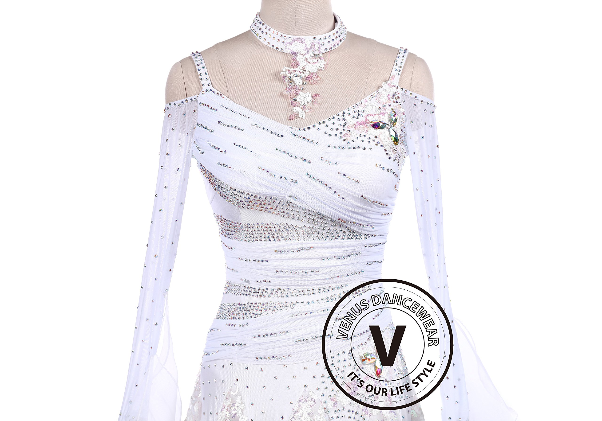 White Sequin Embroidered Ballroom Competition Dance Dress by Venus Dancewear (Image #2)