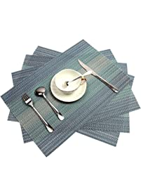 PAUWER Placemats Set Of 6 Crossweave Woven Vinyl Placemat For Kitchen Table  Heat Resistant Non