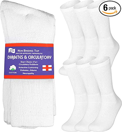 6 Pairs of Ladies/'s Diabetic Socks Without Rubber-Hand-Stitched-Cotton White