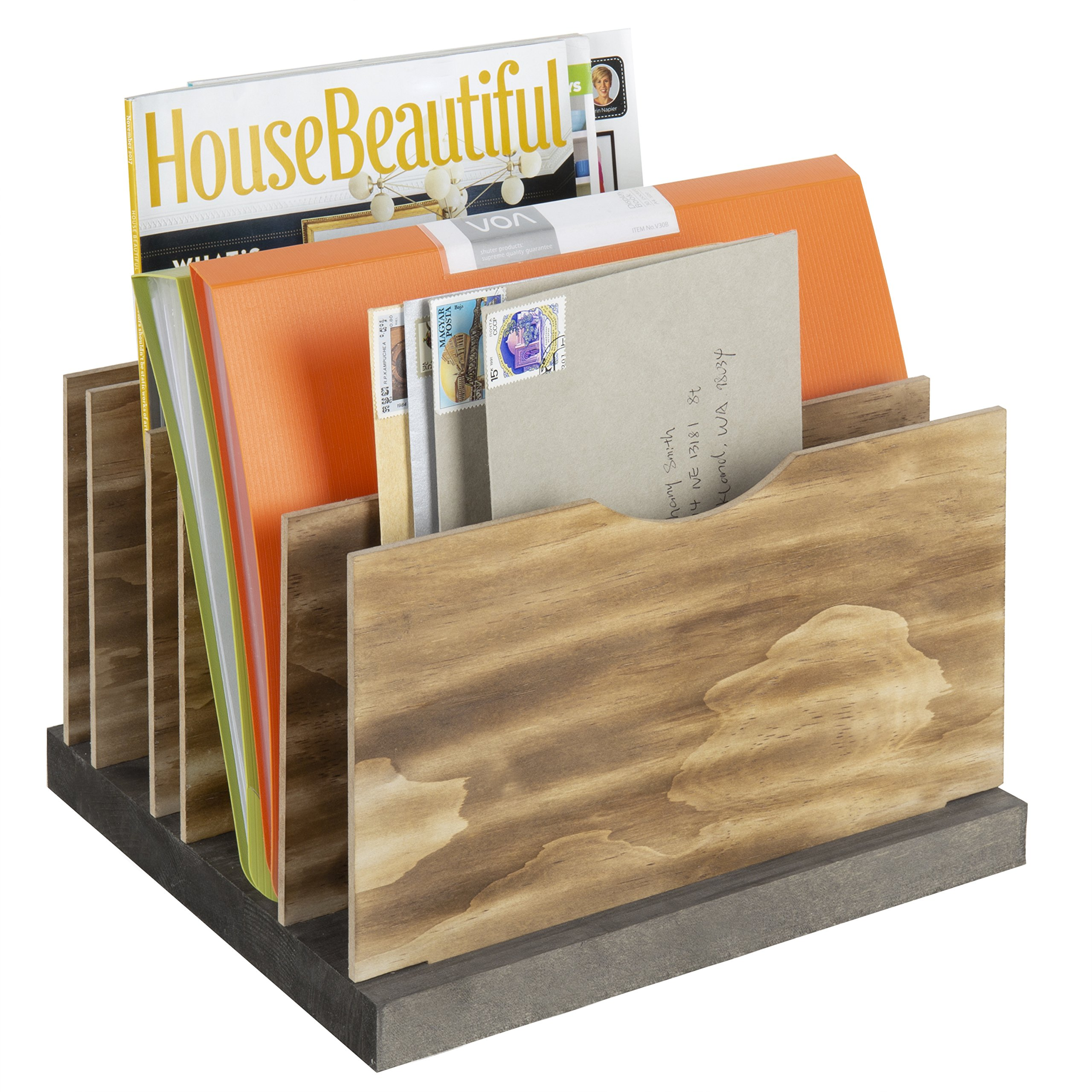 MyGift 5-Slot Adjustable Two-Tone Wood Document Organizer with Removable Panels