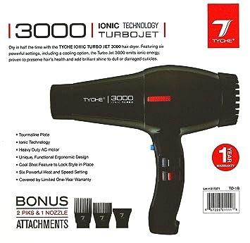 Amazon.com: Tyche Professional Hair Dryer Turbo Jet 3000 Black (1 Year Warranty): Beauty
