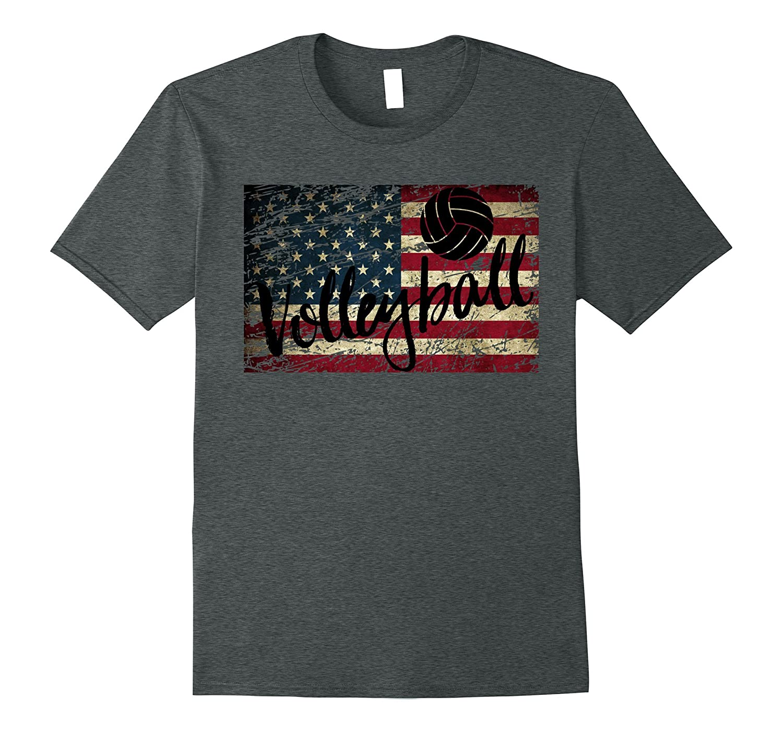 Beach Volleyball USA Flag T-Shirt American Flag Volleyball-FL
