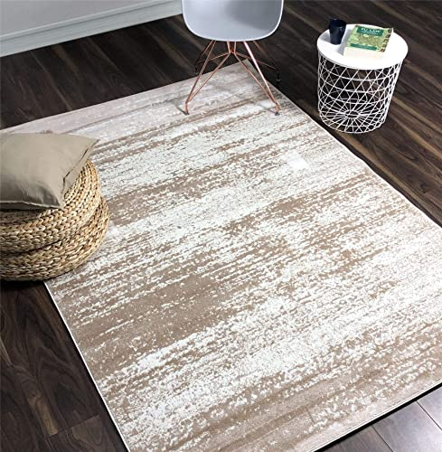 A2Z Rug Contemporary Cream, Beige Palma 1787 Area Rugs 4 6 x6 6 ft Moder Living Room Dinning Room Bedroom Flooring Rugs