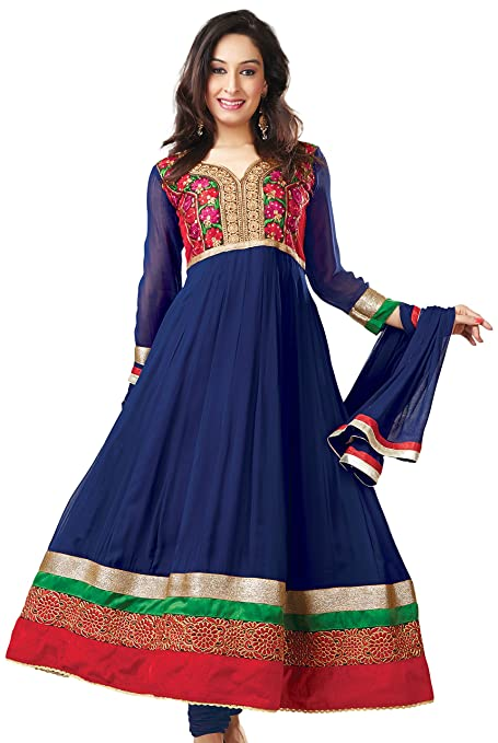 Silkbazar Embroidered Anarkali Dress Material Dress Material at amazon