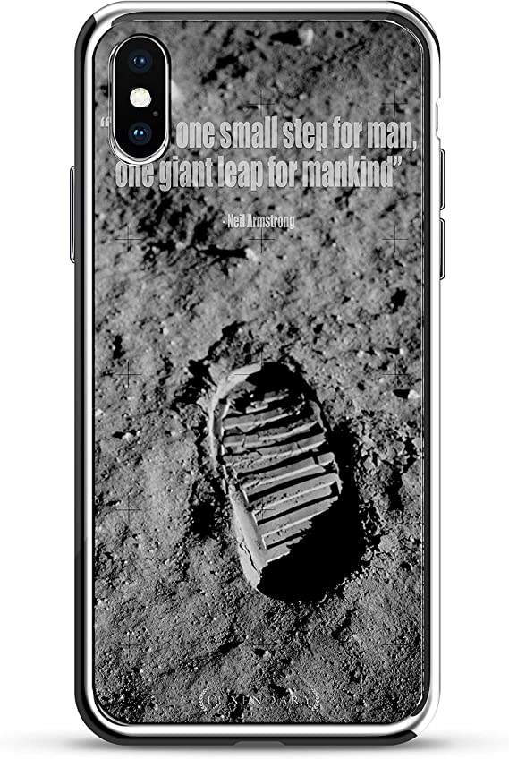 NEIL ARMSTRONG QUOTE | Luxendary Chrome Series designer case for iPhone X in Silver trim